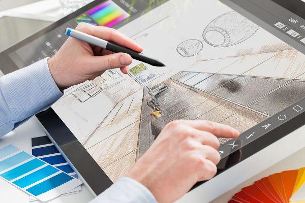 designer graphic drawing interior creative creativity draw work tablet screen sketch designing